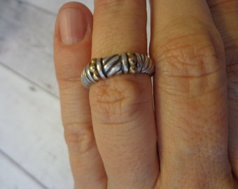 Vintage Mixed Metal 925 Sterling Silver and 10K Band Ring, Size 6 1/2, 2-Tone Gold and Silver Ring, Minimalist Ring