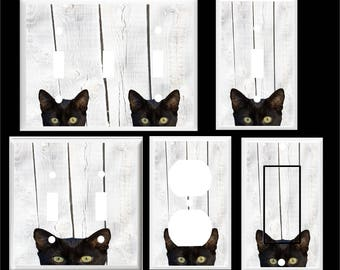 BLACK CAT  Peek A Boo  Light Switch Cover Plate or Outlet   Home  Decor  Free Shipping in U.S.!!!