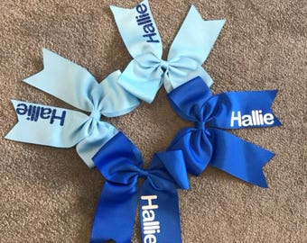 Personalised hair bows #bows #personalised bows 7inch cheerleader glitter lots of colours