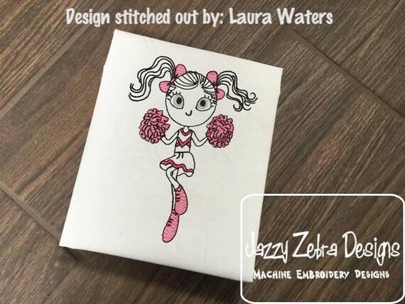 Swirly girl cheerleader 2 sketch embroidery design - girl embroidery design - cheer embroidery design - cheerleader embroidery design