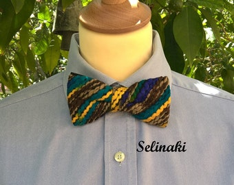 Knit Bow Tie Blue