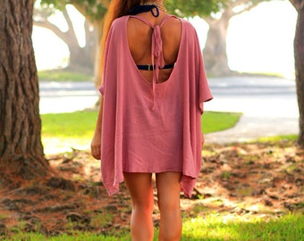 Beach Poncho Cover Up with Open Back - Caftan in Mauve Cotton Gauze - Lots of Colors by Mademoiselle Mermaid