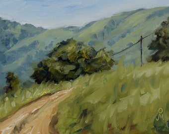 """Mountain road, 6"""" x 8"""", Original Oil Painting on Canvas"""