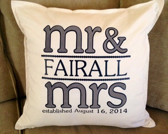 "Personalized Mr and Mrs Established Pillow  - Great Shower/ Wedding/ Anniversary Gift  - 20"" x 20"" Pillow and Pillow Case"