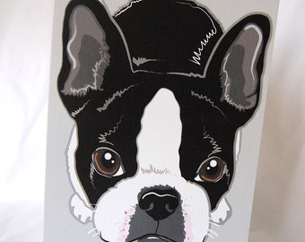 Adorable Boston Terrier Greeting Card