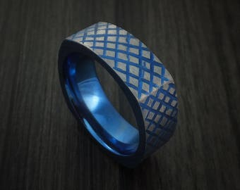 Titanium anodized square ring with crosshatch pattern custom made band