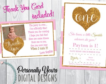 Pink and Gold Sparkle Invitation