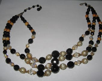 1950s Triple Strand Beaded  Necklace Costume Vintage Jewelry #e242