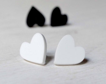 Minimal heart-shaped earrings every occasion earrings black and white