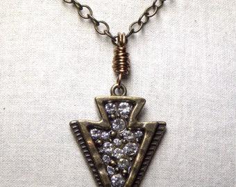 Arrowhead Choker Rhinestone Arrow Necklace Boho Bohemian Layering Brass Jewelry Gift Simple Choker Minimalist