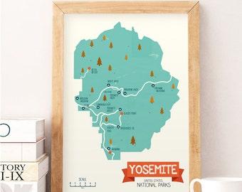 Yosemite park, National parks print, National parks decor, Nursery wall art, Nursery wall decor, Kids room art, Art for kids, Unites states