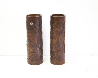 Pair of Chinese Bamboo Capstand Vases