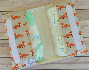 Diaper clutch, foxes diaper pouch, fox fabric, nappy pouch, woodland animals diaper holder, squirrels, birds, owls, foxes, diaper clutch