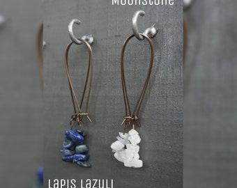 Lapis Lazuli - Moonstone - Crystal - Large Dangle Kidney Earrings