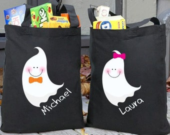 Halloween Ghost Personalized Trick or Treat Bag, trick-or-treating, trick-or-treating bag, candy bag, treat bag, costume -gfy867692BK