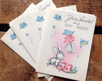 Vintage Baby Shower Invitations - Set of 12 - Baby Girl, For Girl, Vintage Baby Girl, Newborn Cards, Vintage Cards, Vintage Baby Invitations