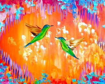 abstract, painting, with, yellow, yellows, orange, warm, rainbow, modern, hummingbirds. abstracts, on, canvas, bright, paintings, Australia