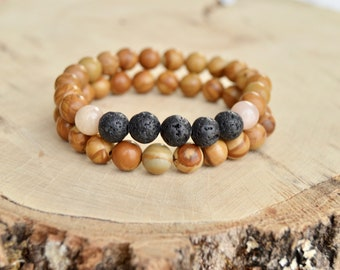 Diffuser Bracelet Stack. Black Lava and Jasper Wood Beads