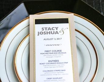"Black and Gold Glitter, Dinner Menu, Reception Menu, Wedding Menus, Elegant Wedding Black Tie - ""Bold Striped"" Flat Menu, 2 Layers - DEPOSIT"