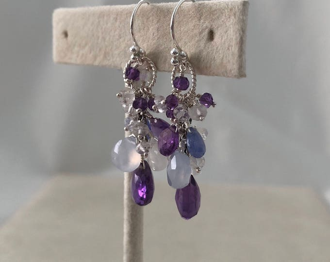 Semiprecious Gemstone Earrings in Sterling Silver and Amethyst, Chalcedony, Tanzanite and Rainbow Moonstone