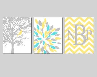 Yellow Gray Aqua Nursery Art Trio - Bird in a Tree, Abstract Floral, Chevron Monogram - Set of Three 8x10 Prints - CHOOSE YOUR COLORS
