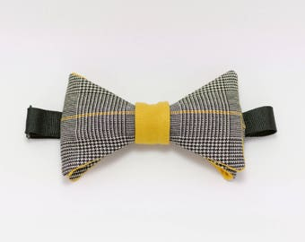Bowtie Tesseract honey yellow color with prince of Wales fabric