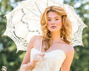 Wedding Photo Booth Prop Antiqued Battenburg Lace Parasol