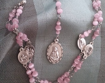 Pink Beaded Rosary, Religious Necklace, Rosary Necklace, Religious Jewelry, Beaded Rosary