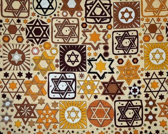 Tossed Stars Jewish Fabric on Beige