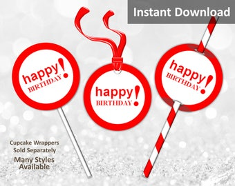 Red Happy Birthday Cupcake Toppers, Favor Tags or Straw Flags, Instant Download, Party Decorations