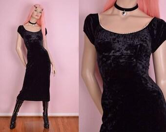 90s Black Crushed Velvet Lace Trim Dress/ Small/ 1990s