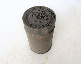 1800s Antique Baking Powder Tin Cleveland's Superior Round Canister 1 Lb