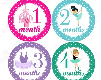 Girl Monthly Baby Stickers, 1 to 12 Months, Monthly Bodysuit Stickers, Baby Age Stickers, Ballet