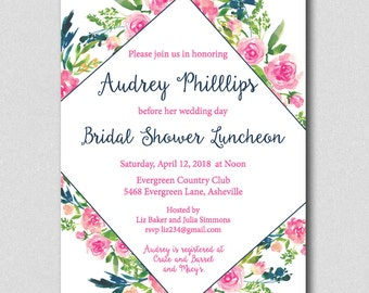Pink Roses Watercolor Bridal Shower Invitation, Floral Bridal shower, Watercolor Bridal Shower, Bridal Brunch Invite, Bridal Luncheon