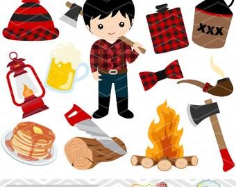 Instant Download lumberjack Clip Art, Paul Bunyan Clipart, Lumber jill Digital Clipart, Lumberjack Digital Clipart, Camping Clip Art 0168