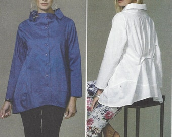 Katherine Tilton Womens Lagenlook Top or Tunic Perfect for Linen Butterick Sewing Pattern B6459 Size 8 10 12 14 16 Bust 31 1/2 to 38 UnCut