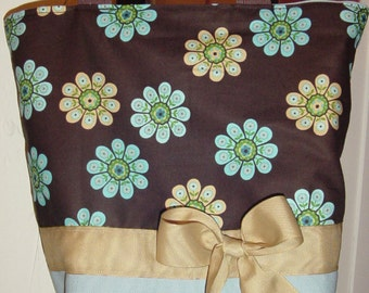 Blue Tan Brown Retro  Flower Floral Big  Daisy Purse Tote BAG or Diaperbag