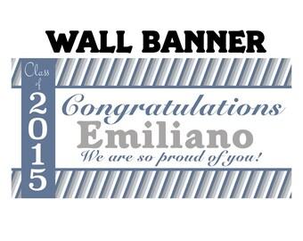 Graduation Personalized Banner, Congrats Grad Party Banner - Vinyl Party Banner