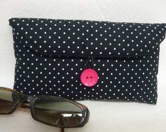 Black polka dot fabric glasses case