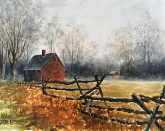 Old Farm House Painting, Wick House, Revolutionary War, Watercolor Wall Art - Print or Original