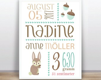 Woodland baby announcement - Baby birth - Baby subway art PRINTABLE - Personalized