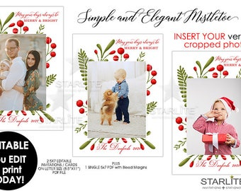 Unique Photo Christmas Card, Simple Elegant Christmas Photo Card, Mistletoe Christmas Card EDITABLE INSTANT DOWNLOAD Printable Pdf Diy