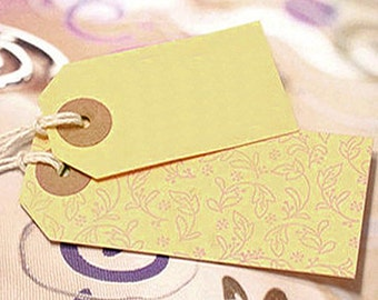 50 Standard Gift Tags with Ring Stickers / S - Pale Yellow (1.6 x 2.8in)