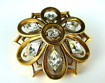 Crown Trifari Brooch - 1951 Alfred Philippe Patent Pending 165298 - Gold Tone Pin with Crystal Glass