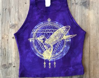 HUMMINGBIRD Spirit Animal Fitted Crop Tank
