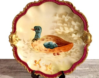 """Antique Limoges Coronet Plate, Signed Artist Norys, Hand Painted Game Bird Gold Gilded Scalloped Rim Warm Earth tones 9.75"""" Porcelain Plate"""