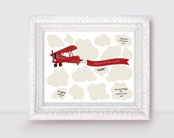 "biplane baby shower signature guest book 10x8"" print - plane clouds new baby boy or first birthday red printed nursery art airplane flying"