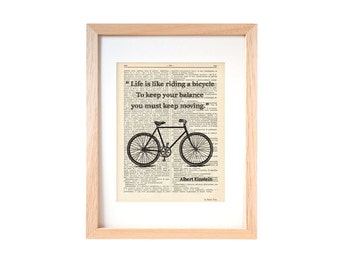 Einstein bicycle quote dictionary print-Bicycle print-Bicycle on book page-quote print-bicycle decor-home decor-dorm print-NATURAPICTA-DP130