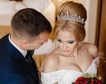 Wedding Crown, Bridal Tiara, Bridal Diadem, Crystal Bridal Tiara,Crystal Crown, Bridal Crown, Wedding Halo,Wedding Headpiece- LYSANDRA