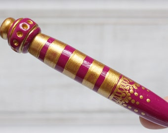 Made to Order Slim Crochet Hook, Turquoise or Fuchsia, Moroccan Inspired, Custom Handmade Crochet Hook, Polymer Clay Crochet Hooks